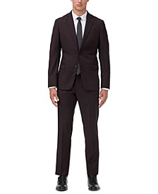 Men's Modern-Fit Burgundy Neat Suit Separates