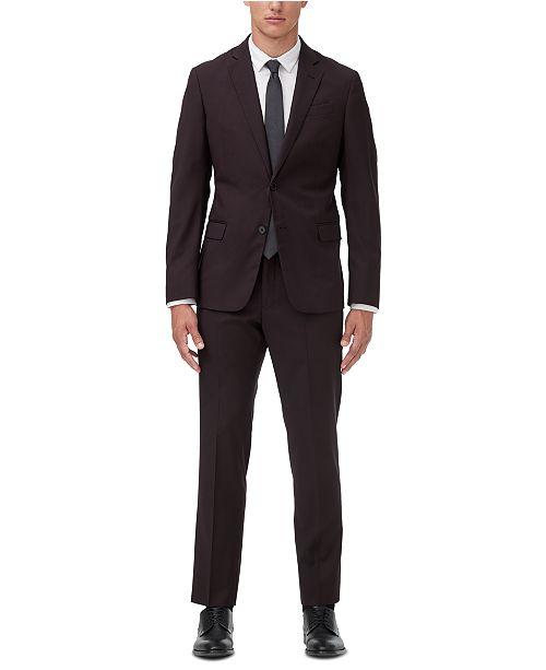 Armani Exchange Men's Modern-Fit Burgundy Neat Suit Separates