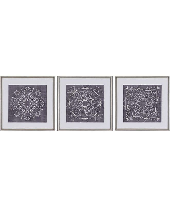 "Paragon Geometric Tile II Framed Wall Art Set of 3, 22"" x 22"""