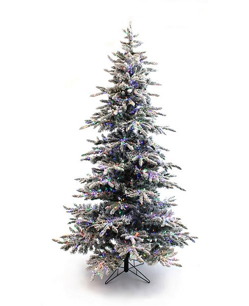 Perfect Holiday 5' Pre-Lit Slim Flocked Christmas Tree with Warm White and Multicolor LED Lights