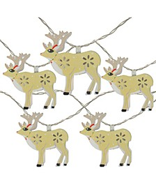 10 Battery Operated Reindeer LED Christmas Lights - 4.5 ft Clear Wire