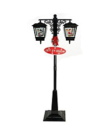 Lighted Black Musical Snowing Santa and Snowman Double Christmas Street Lamp