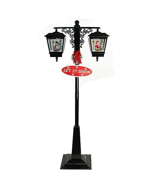"Northlight 74"" Lighted Black Musical Snowing Santa and Snowman Double Christmas Street Lamp"