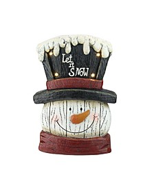 "13"" Pre-Lit LED Snowman Weathered Table Top Christmas Decoration"