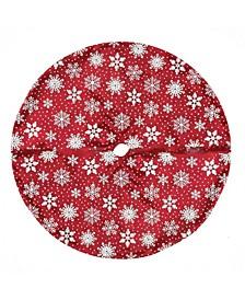 "20"" Red and White Glitter Snowflake Mini Christmas Tree Skirt"