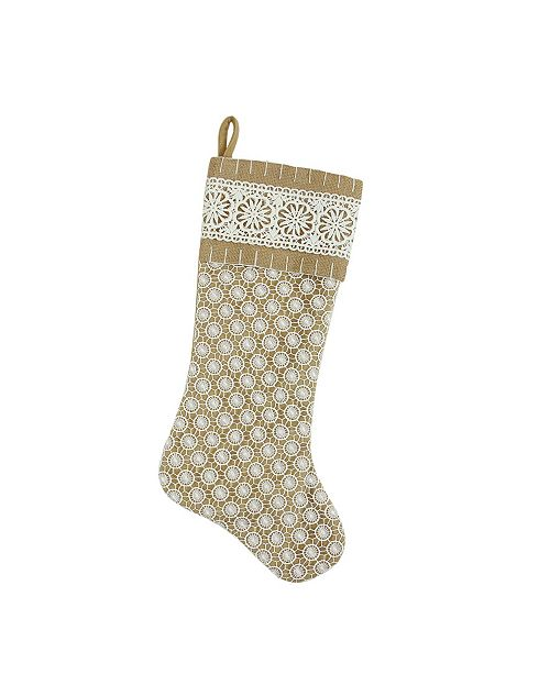 """Northlight 20.5"""" Tan Brown and White Lace with Burlap and Lace Cuff Christmas Stocking"""
