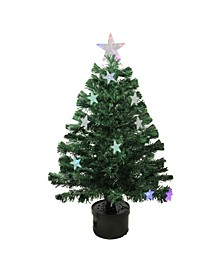 Pre-Lit Led Color Changing Fiber Optic Christmas Tree with Stars