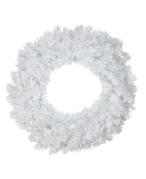 Northlight Pre-Lit B/O Led White Pine Artificial Christmas Wreath - Clear Lights