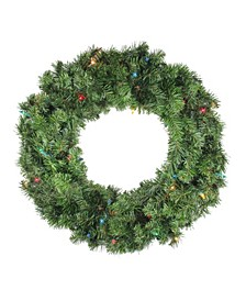 "24"" Pre-Lit Canadian Pine Artificial Christmas Wreath - Multi Lights"