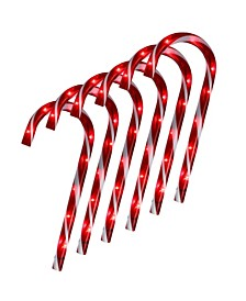 Set of 6 Lighted Blinking Outdoor Candy Cane Christmas Pathway Markers
