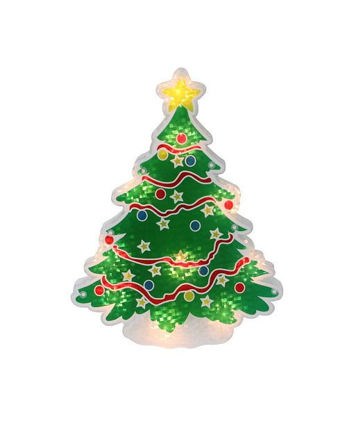 "Northlight 12.5"" Lighted Holographic Christmas Tree Window Silhouette Decoration"