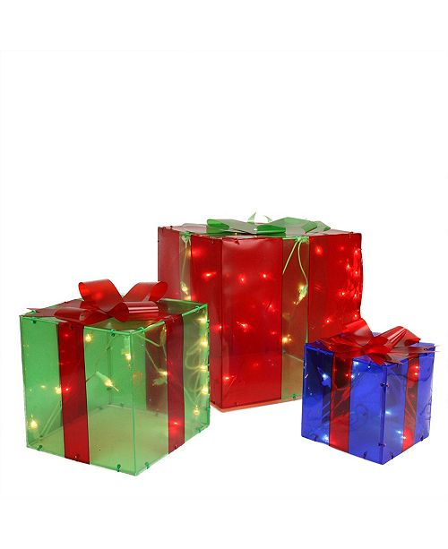 Northlight Set of 3 Prelit Red Green and Blue Gift Box Outdoor Christmas Decoration