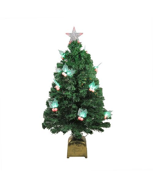 Northlight 3' Pre-Lit Fiber Optic Christmas Tree with LED Holly Berries