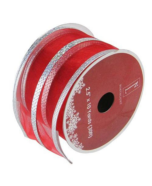 """Northlight Dazzling Red and Silver Metallic Stripe Wired Christmas Craft Ribbon 2.5"""" x 10 Yards"""