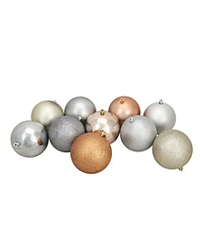 """12ct Almond/Silver/Pewter/Champagne Shatterproof 3-Finish Christmas Ball Ornaments 4"""""""