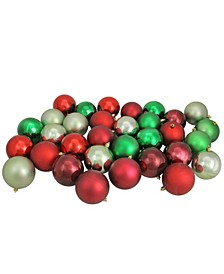 """32ct Red/Xmas Green/Celadon/Burgundy Shatterproof Shiny and Matte Christmas Ball Ornaments 3.25"""""""