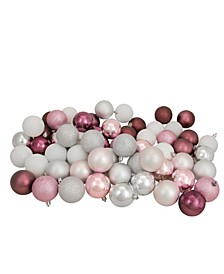 "60ct Blush Pink/Mulberry/Silver/White Shatterproof 3-Finish Christmas Ball Ornaments 2.5"""