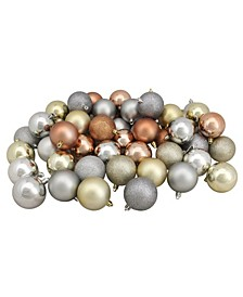 """60ct Silver/Champagne/Almond/Pewter Shatterproof 3-Finish Christmas Ball Ornaments 2.5"""""""