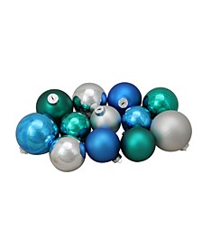 72ct Turquoise Blue and Silver Shiny and Matte Glass Ball Christmas Ornaments 3.25-4""
