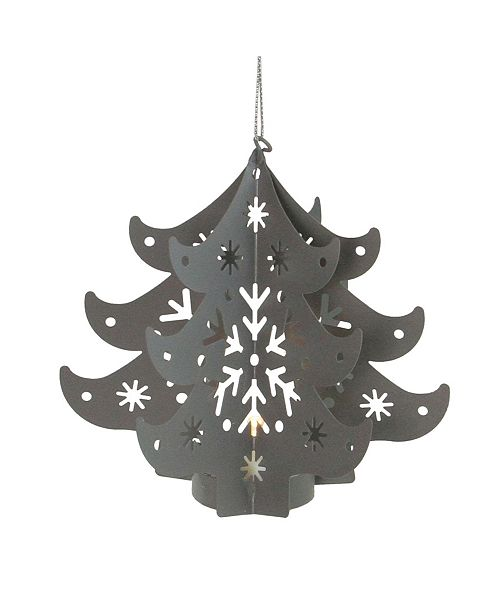 """Northlight 4.5"""" Prelit Gray Cut Out Tree Christmas Ornament"""