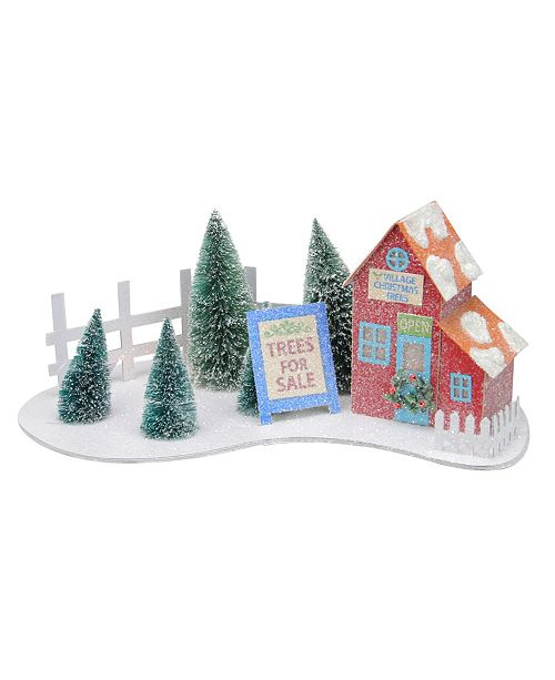"""Northlight 15"""" Pre-lit Glittered Red Christmas Tree Shop with Pine Trees Decoration - Warm White Lights"""