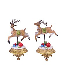 Set of 2 Glittered Reindeer Christmas Stocking Holders 9.25""