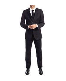 Tazio Men's Slim Fit Notch Lapel Windowpane Suit