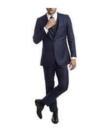 Tazio Men's Hybrid Glen Plaid Peak Lapel Suit