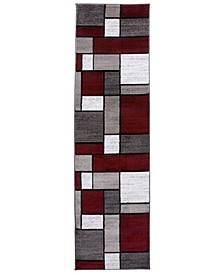 "Home Montane Mon106 Red 2' x 7'2"" Runner Rug"