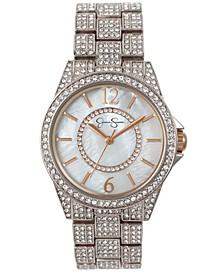 Women's Crystal Encrusted Silver Tone Bracelet Watch 36mm