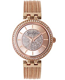 Women's Pave Crystal Gold Tone Mesh Watch 36mm