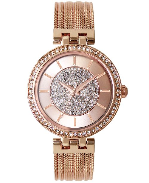 Jessica Simpson Women's Pave Crystal Gold Tone Mesh Watch 36mm