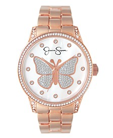 Women's Pave Crystal Butterfly Rose Gold Tone Bracelet Watch 36mm
