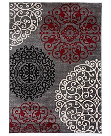 """Home Alba Alb303 Red 6'6"""" x 9' Area Rug"""