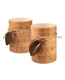 Lumabase Battery Operated LED Wax Candles, Cork and Leaf, Set of 2