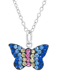 "Multicolor Pave Crystal Butterfly Pendant With 18"" Chain set in Sterling Silver"