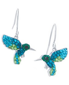 Multi Pave Crystal Hummingbird Wire Drop Earrings set in Sterling Silver