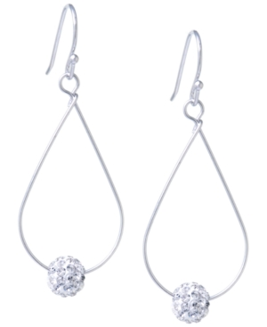 Pave Crystal Ball on an Open Tear Drop Wire Earrings Set in Sterling Silver. Available in Clear or Gray