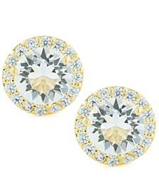 Clear Color Swarovski Crystal Round Halo Stud Earrings Set In 14k Gold Over Sterling Silver