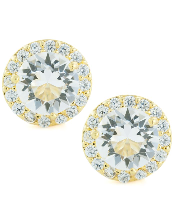 Giani Bernini - Clear Color Swarovski Crystal Round Halo Stud Earrings Set In 14k Gold Over Sterling Silver