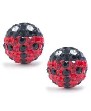 Black and Red Pave Crystal Lady Bug Stud Earrings set in Sterling Silver