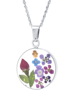Medium Round Dried Flower Medal Pendant with 18