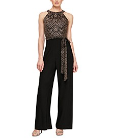 Belted Metallic Jumpsuit