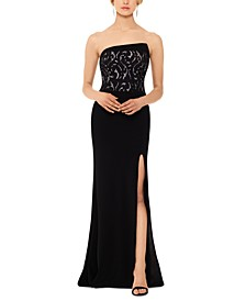 Strapless Lace Slit Gown