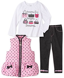 Baby Girls 3-Pc. Dot-Print Puffer Vest, Graphic-Print T-Shirt & Jeggings Set