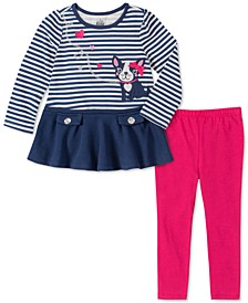 Baby Girls 2-Pc. Striped Dog Tunic & Leggings Set