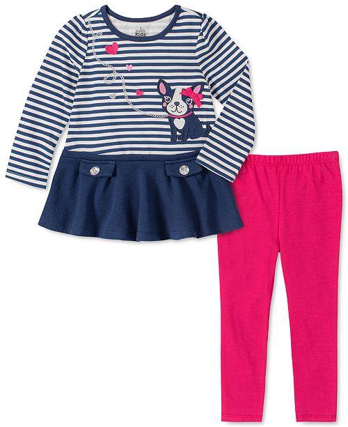 Kids Headquarters Baby Girls 2-Pc. Striped Dog Tunic & Leggings Set