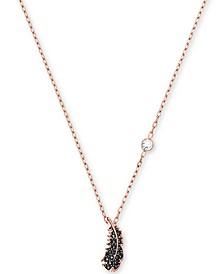 """Rose Gold-Tone Black Pavé Feather Pendant Necklace, 14-7/8"""" + 2"""" extender"""