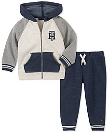 Baby Boys 2-Pc. Fleece Colorblocked Hoodie & Jogger Pants Set