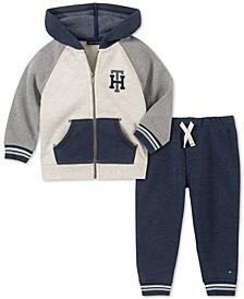 Baby Boys 2-Pc. Fleece Colorblocked Hoodie & Jogger Pants Set